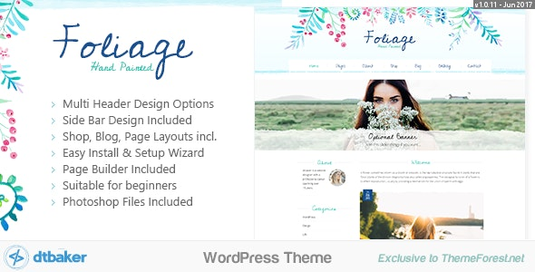 Foliage Watercolor - Creative WordPress Theme - Creative WordPress