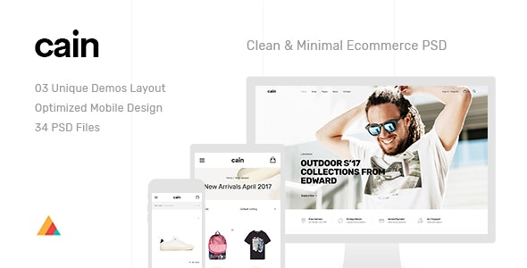 Cain | Clean & Minimal Ecommerce PSD Template - Photoshop UI Templates