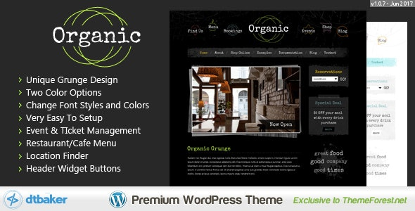 Organic Grunge - WordPress Cafe & Restaurant Theme - Creative WordPress