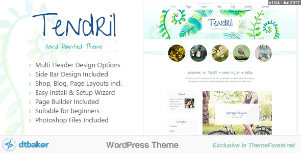 Tendril Watercolor -  Blog & Shop - Creative WordPress