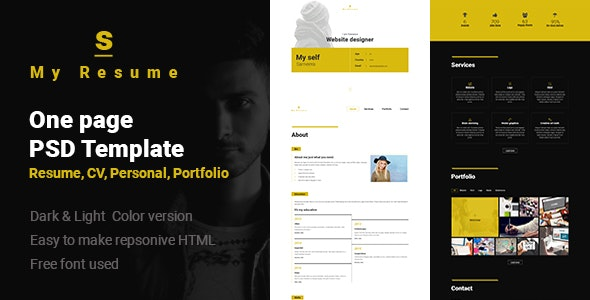 S - Resume, Cv, Portfolio One Page PSD Template - Personal Photoshop