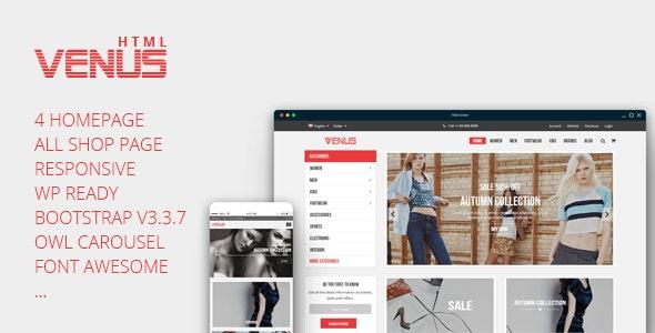 Venus - Tshirt Shop Responsive eCommerce Template - Fashion Retail