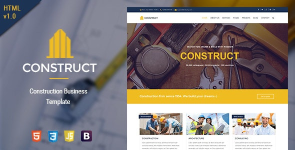 Construct - HTML5 Construction & Business Template - Business Corporate
