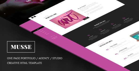 Musse - One Page Portfolio / Agency / Studio Creative Html Template - Creative Site Templates