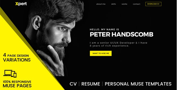 Xpert - Personal & Portfolio Muse Templates - Personal Muse Templates