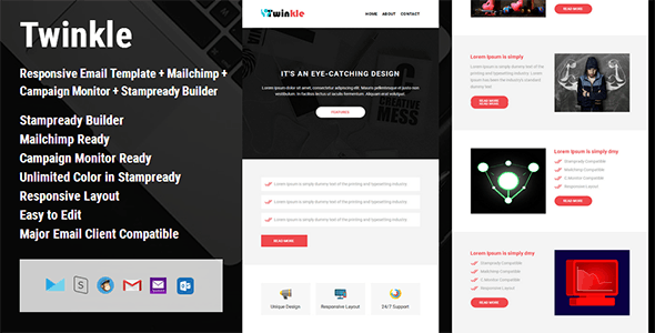Twinkle - Responsive Email Template + Campaign Monitor + Mailchimp + Stampready Builder - Email Templates Marketing