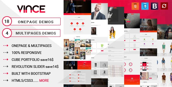 Vince Onepage & Multipages Business Templates