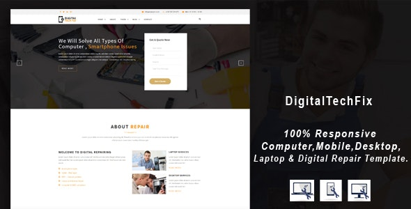 Digital Tech Fix -  Multipurpose Mobile, Computer, Electronic Servicing and Repairing HTML Template - Computer Technology