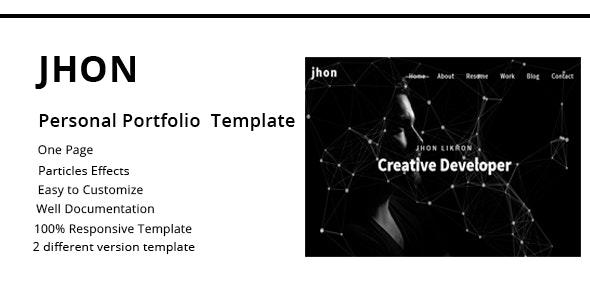 jhon - Personal Portfolio Template - Portfolio Creative