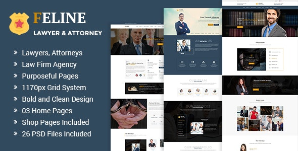 Feline - Lawyers Attorneys & Law Firm PSD Template - Business Corporate