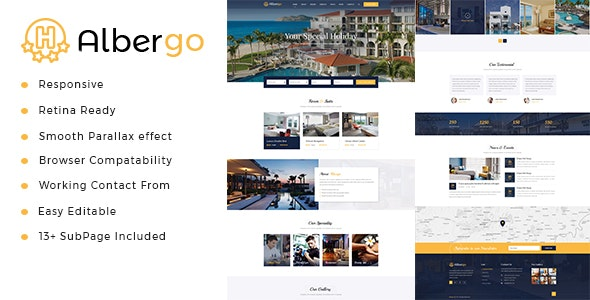 Albergo   Hotel and Resort HTML5 Template - Business Corporate