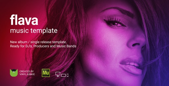Flava - Album / Single Release Promo and DJ / Music Band Responsive Muse Template - Personal Muse Templates