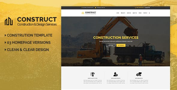 Construct - Construction & Building Business PSD Template