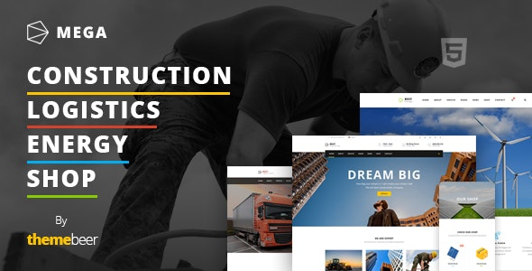 Mega - Construction / Logistics / Energy with Shop Template - Business Corporate