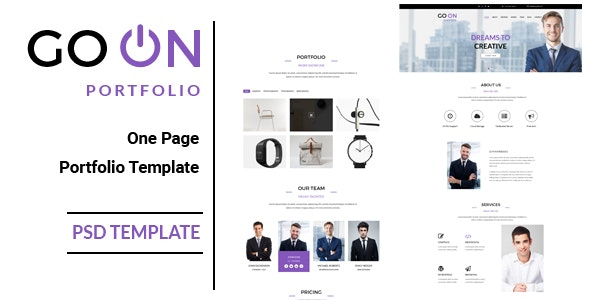 Go On : One Page Portfolio PSD Template - Portfolio Creative