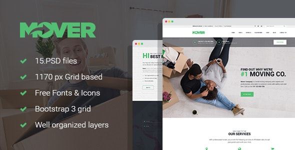 Mover - Delivery Company PSD Template - Business Corporate