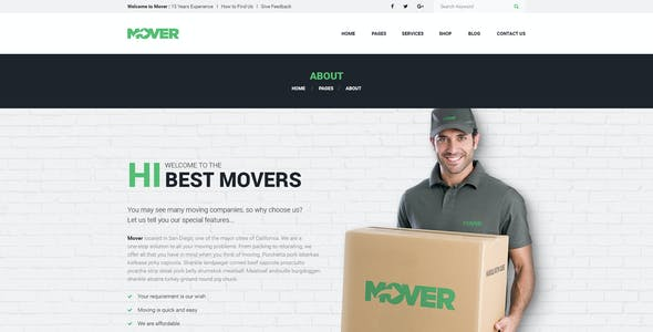 Mover - Delivery Company PSD Template