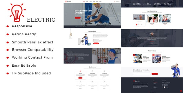 Electric : Electrician & Repairing HTML Template - Business Corporate