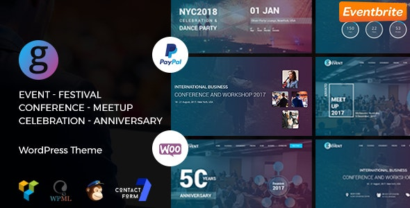 Conference / Meetup / Festival Event WordPress Theme | G-Event WP Theme - Events Entertainment