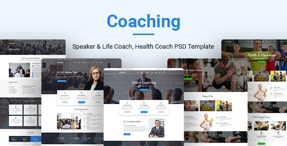Coaching | Speaker & Life Coach, Health Coach PSD Templates - Corporate Photoshop
