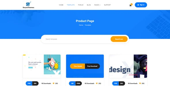 SoyonThemes - Digital Products Marketplace E-Commerce PSD Template