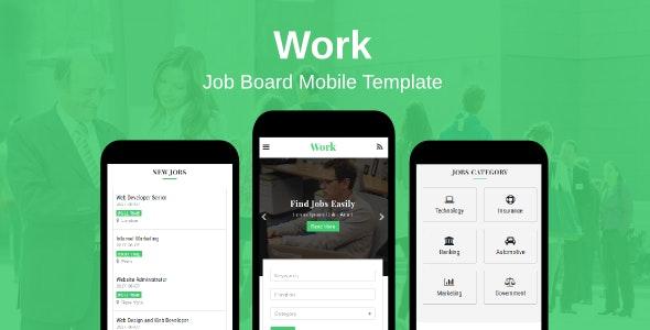 Work - Job Board Mobile Template - Mobile Site Templates