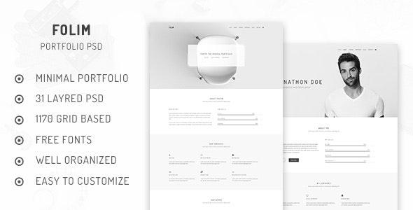 Folim - Minimal Portfolio PSD  Template - Portfolio Creative