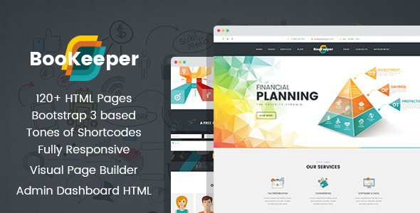 BooKeeper - Finances & Accounting HTML Template with Builder - Business Corporate