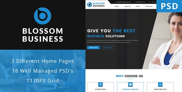 Blossom Business - Professional Business PSD Template - Corporate Photoshop