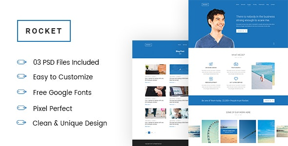 ROCKET -  Corporate and Business landing page PSD Template - Photoshop UI Templates