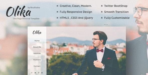 Olika - One Page Personal Template - Personal Site Templates