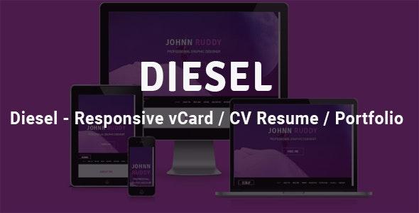 Diesel - Responsive vCard  / CV Resume /  Portfolio - Retail Landing Pages