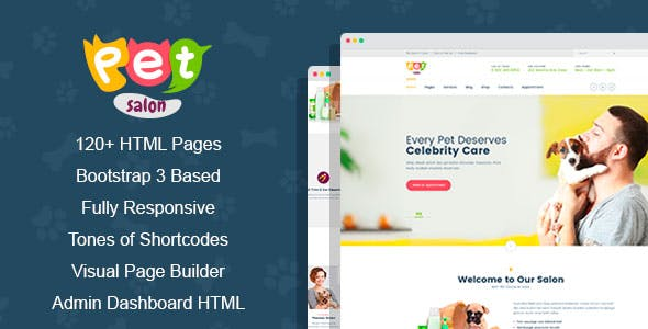 Pet Salon - Veterinary Medecine & Grooming HTML Template with Visual Page Builder