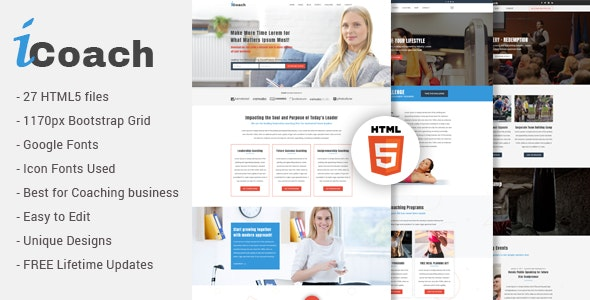 iCoach - For Coaches, Speakers, Fitness Trainers & Entrepreneurs HTML5 Template - Business Corporate