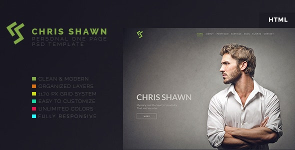 Chris Shawn - One Page HTML Template - Personal Site Templates