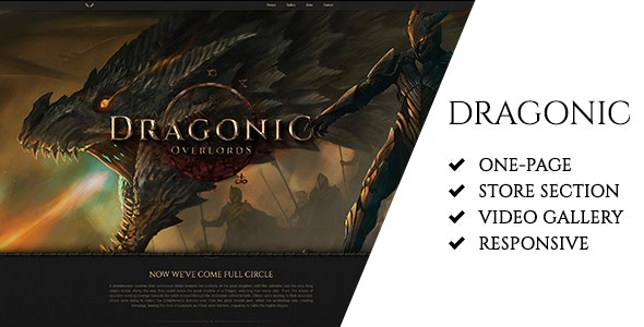 Dragonic: The Ultimate One-Page Premium Gaming Template - Technology Site Templates