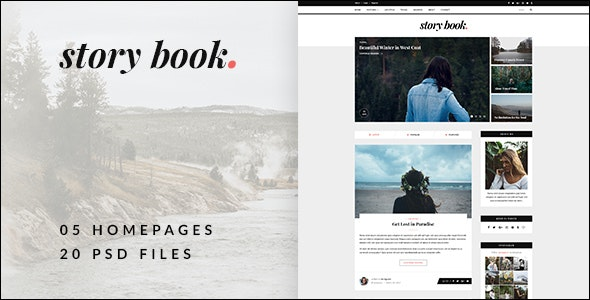 Story Book - Elegant Blog PSD Template - Personal Photoshop