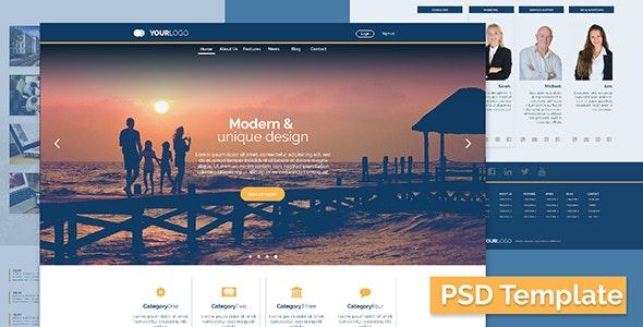 Elegant Business/Corporate PSD Template - Photoshop UI Templates