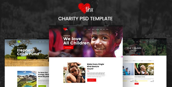 THX - Charity & donation PSD Template - Charity Nonprofit