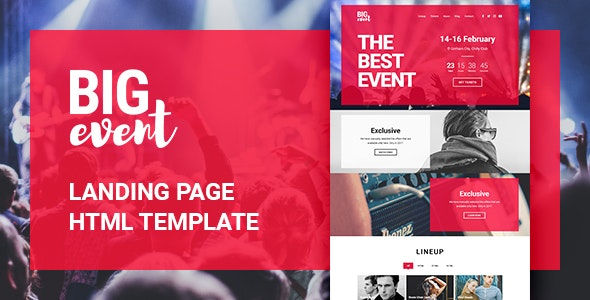 BigEvent Landing Page HTML Template - Landing Pages Marketing
