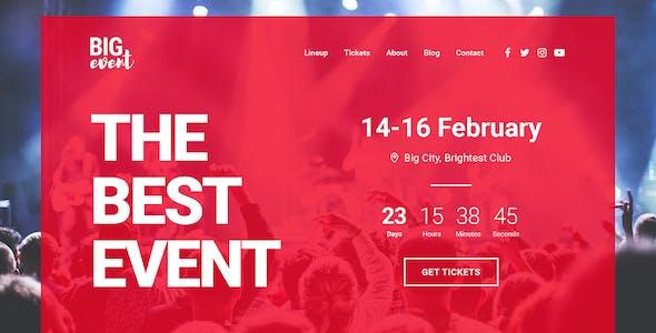 BigEvent Landing Page HTML Template