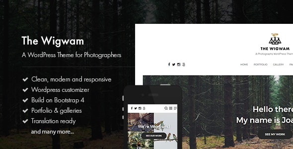 The Wigwam - A Responsive Photography WordPress Theme - Photography Creative