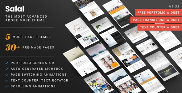 Safal: 5-in-1 Responsive Creative Multipurpose Adobe Muse Theme - Creative Muse Templates