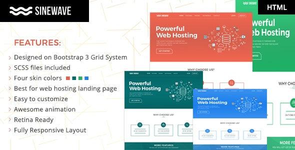 Sinewave - One Page Hosting Landing Page HTML Template - Hosting Technology