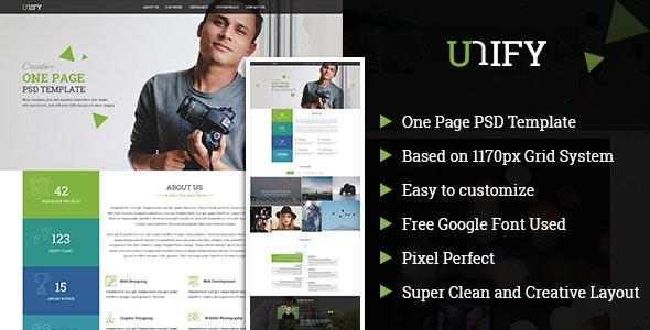 Unify OnePage PSD Template - Portfolio Creative