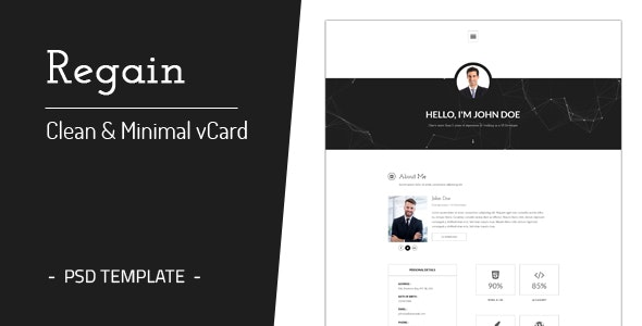 Regain - Clean & Minimal Personal vCard Template - Virtual Business Card Personal