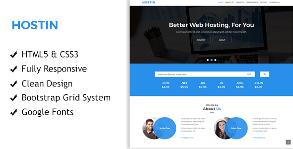 HostIn - One Page Responsive Hosting Template
