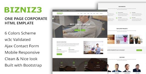 Bizniz3 - One Page Mutlipurpose HTML5 Template