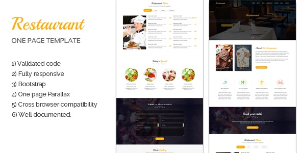 Restaurant One page Template - Restaurants & Cafes Entertainment