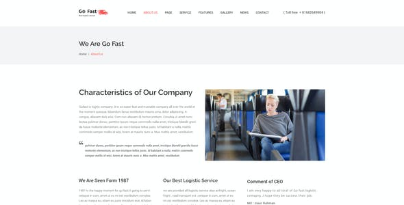 Go Fast-Transport & Logistics PSD Template
